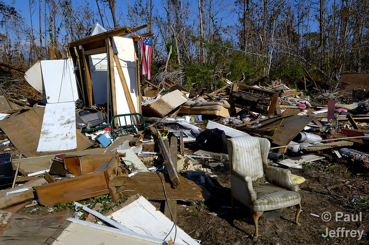 Waveland, Mississippi, following the passage of Hurricane Katrina in 2005.