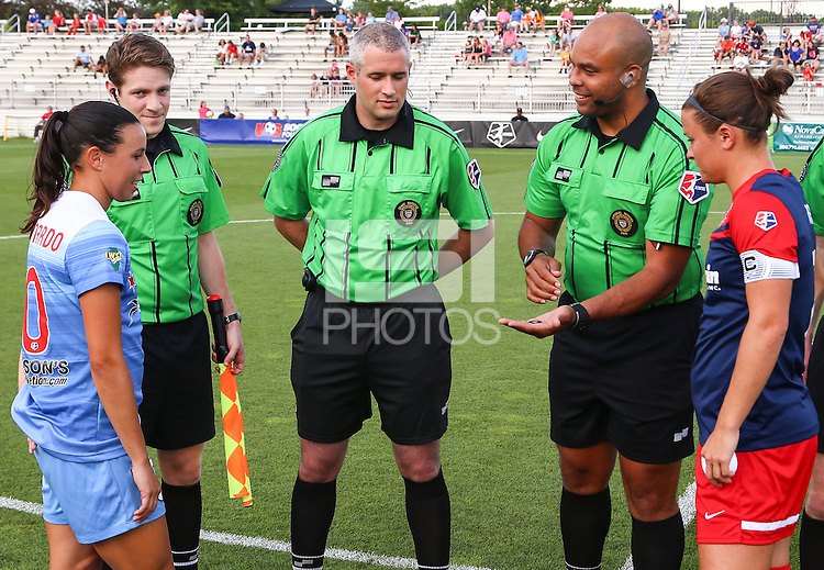 Boyds, MD - Saturday July 09, 2016: Vanessa DiBernardo, Christine Nairn, Brandon Artis prior to a regular season National Women's Soccer League (NWSL) match between the Washington Spirit and the Chicago Red Stars at Maureen Hendricks Field, Maryland SoccerPlex.
