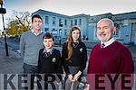 Pictured at the announcement of a new school building for Gaelcholáiste Chiarraí,Tralee, on Wednesday, were l-r: Ruairí Ó Cinnéide (deputy principal) Rónán Ó Luasaigh, Ellen de Bhailís and Austin Ó Seachnasaigh (príomhoide).
