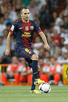 29.08.2012 Spain Supercopa, Real Madrid won (2-1) at Barcelona and was presented on goalaverage to win its ninth Supercopa of Spain) at Santiago Bernabeu stadium. The picture show Andres Iniesta Lujan (Spanish midfielder of Barcelona)