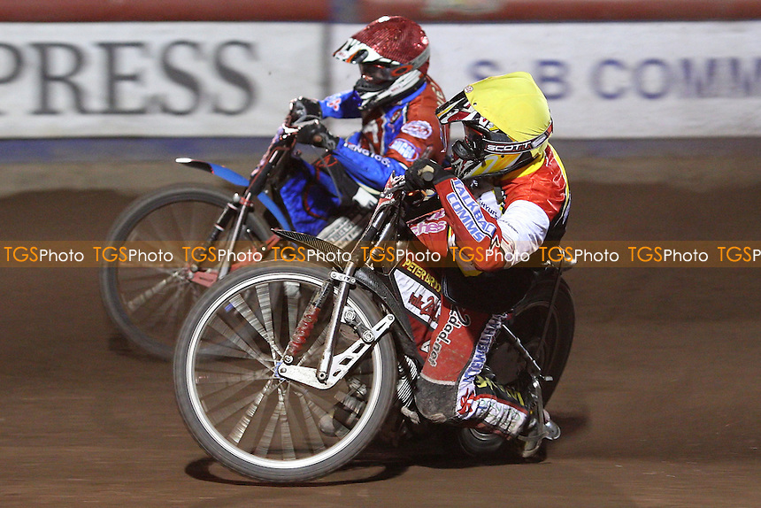 Heat 12: Adam Shields (red) and Phil Morris (yellow) - Lakeside Hammers vs Swindon Robins at The Arena Essex Raceway, Lakeside - 04/04/08 - MANDATORY CREDIT: Rob Newell/TGSPHOTO