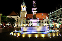 Night shot of The Main Square in Old Town Bratislava.