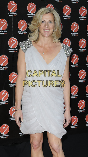 SALLY GUNNELL .At the Sport Industry Awards, Battersea Evolution, London, England, UK, .May 13th 2010..arrivals half length grey gray ruched shoulder beaded pads epaulettes silver   .CAP/CAN.©Can Nguyen/Capital Pictures.