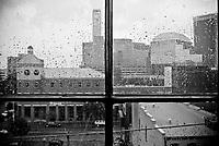 View of Downtown Birmingham through a rain splattered window