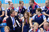 PICTURE BY ALEX BROADWAY /SWPIX.COM - 2012 London Paralympic Games - Day Five - Swimming, Aquatic Centre, Olympic Park, London, England - 03/09/12 - Prime Minister David Cameron watches from the stands.