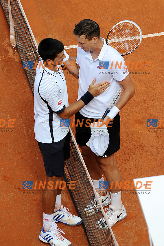 Novak Djokovic e Tomas Berdych.Roma 17/05/2013 Foro Italico .Tennis Internazionali d'Italia 2013 .Foto Antonietta Baldassarre Insidefoto