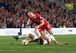 Cardiff - UK - 6th September :<br />Wales v Azerbaijan European Championship 2020 qualifier at Cardiff City Stadium.<br />Jonny Williams of Wales is brought down by Anton Krivotsyuk of Azerbaijan in the second half.<br /><br />Editorial use only