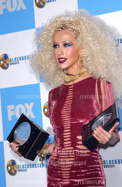 Pop star CHRISTINA AGUILERA at the 2001 Blockbuster Awards in Los Angeles..10APR2001.   © Paul Smith/Featureflash