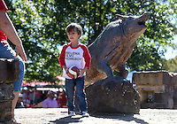 NWA Democrat-Gazette/MICHAEL WOODS &bull; @NWAMICHAELW<br /> Hudson Irons, age 4, from Alma, plays around at the Razorback statue at the Gardens Saturday , October, 8, 2016 as he tailgates with his family before the start of the Arkansas Alabama football game in Fayetteville.