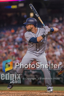 22 July 2016: San Diego Padres infielder Ryan Schimpf in action against the Washington Nationals at Nationals Park in Washington, DC. The Padres defeated the Nationals 5-3 to take the first game of their 3-game, weekend series. Mandatory Credit: Ed Wolfstein Photo *** RAW (NEF) Image File Available ***