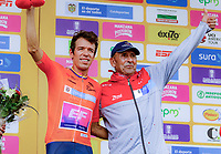 MEDELLIN - COLOMBIA, 12-02-2019: Rigoberto Uran (COL) Team EF Education First - DRAPAC celebra como líder de la clasificación general después de la primera etapa, contrarreloj por equipos de 14 Km, como parte del Tour Colombia 2.1 2019 que se disputó por las calles de la ciudad de Medellín . / Rigoberto Uran (COL) Team EF Education First - DRAPAC after the first stage, time trial by teams of 14 km, as part of Tour Colombia 2.1 2019 that ran through the streets of Medellin. Photo: VizzorImage / Anderson Bonilla / Cont