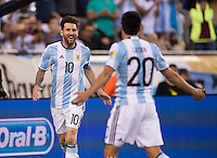 Foxborough, MA - Saturday June 18, 2016: Lionel Messi, Nicolas Gaitan during a Copa America Centenario quarterfinal match between Argentina (ARG) and Venezuela (VEN)  at Gillette Stadium.
