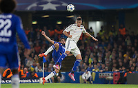 Yevhen Khacheridi of Dynamo Kiev (Dynamo Kyiv) beats Diego Costa of Chelsea to the ball during the UEFA Champions League Group G match between Chelsea and Dynamo Kyiv at Stamford Bridge, London, England on 4 November 2015. Photo by Andy Rowland.