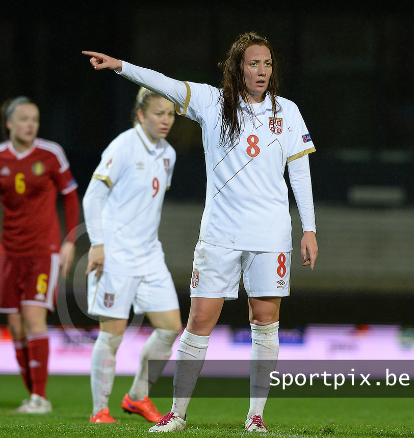 20151130 - LEUVEN ,  BELGIUM : Serbian Marija Ilic pictured during the female soccer game between the Belgian Red Flames and Serbia , the third game in the qualification for the European Championship in The Netherlands 2017  , Monday 30 November 2015 at Stadion Den Dreef  in Leuven , Belgium. PHOTO DAVID CATRY
