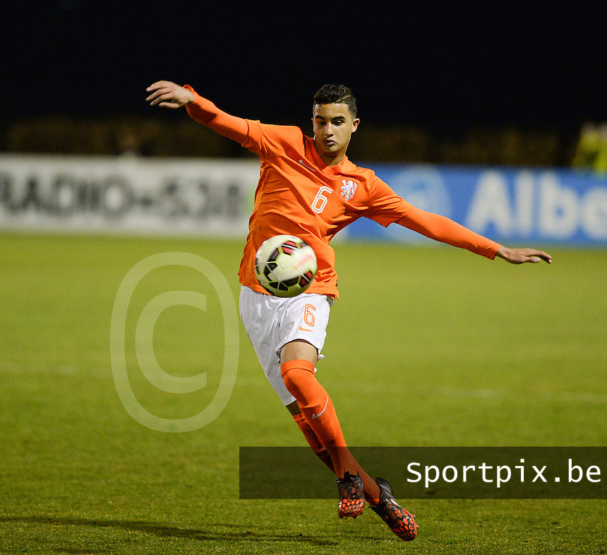 20150312 - SCHIJNDEL , NETHERLANDS  : Dutch Reda Boultam pictured during the soccer match between Under 17 teams of The Netherlands and Georgia  , on the first matchday in group 3 of the UEFA Elite Round Under 17 at Sportpark Zuideinderpark , Schijndel , The Netherlands . Thursday  12 th March 2015 . PHOTO DAVID CATRY