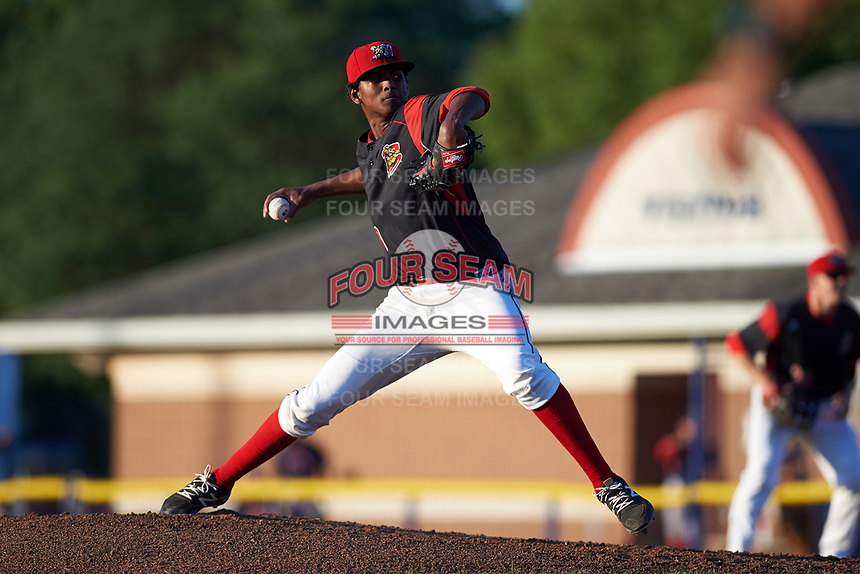 Batavia Muckdogs starting pitcher Edward Cabrera (30) delivers a pitch during a game against the Lowell Spinners on July 11, 2017 at Dwyer Stadium in Batavia, New York.  Lowell defeated Batavia 5-2.  (Mike Janes/Four Seam Images)