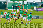 Ballyduff's Paud Costello and Donal Hunt of Crotta O'Neills in an aerial battle for possession in the Senior Hurling Championship 1st round game in Austin Stack Park on Saturday.