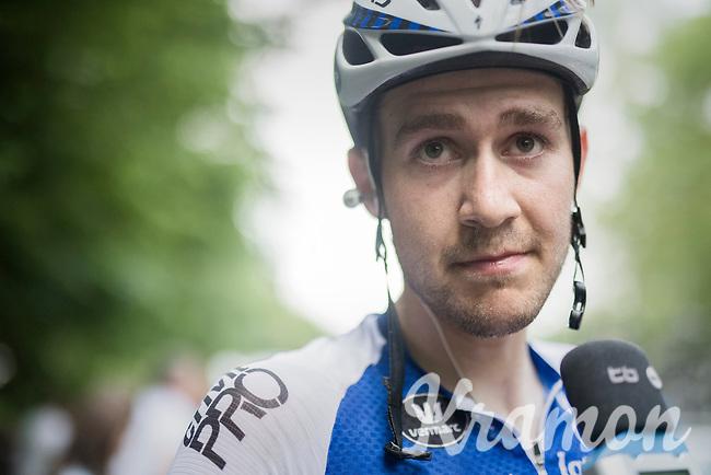 runner-up finisher Laurens De Plus (BEL/QuickStep Floors) interviewed post-stage<br /> <br /> Ster ZLM Tour (2.1)<br /> Stage 4: Hotel Verviers &gt; La Gileppe (Jalhay)(190km)