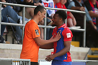 Tempers flare between Chike Kandi of Dagenham and Redbridge and Haydn Hollis of Chesterfield during Dagenham & Redbridge vs Chesterfield, Vanarama National League Football at the Chigwell Construction Stadium on 15th September 2018
