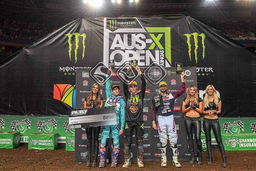 SX 2 / round winners podium<br /> 2018 SX Open - Sydney <br /> Australian Supercross Championships<br /> Qudos Bank Area / Sydney Aus<br /> Saturday Nov 10th 2018<br /> © Sport the library/ Jeff Crow / AME