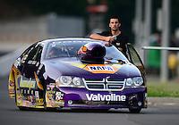 Jun. 15, 2012; Bristol, TN, USA: NHRA pro stock driver Vincent Nobile during qualifying for the Thunder Valley Nationals at Bristol Dragway. Mandatory Credit: Mark J. Rebilas-