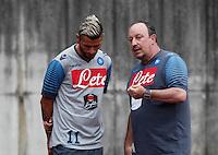 Valon Behrami  Rafael Benitez<br /> ritiro precampionato Napoli Calcio a  Dimaro 23 Luglio 2014<br /> <br /> Preseason summer training of Italy soccer team  SSC Napoli  in Dimaro Italy July 23, 2014