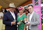 Pictured enjoying the summer fayre on the Ross Hotel / Lane Bar Champagne &amp; Cocktail Marquee at Killarney Races ladies Day on Thursday were from left, Bernie Brennand Trish McIntyre from NSW with bar manager Pat McGrath.<br /> Picture by Don MacMonagle<br /> <br /> <br /> PR Photo from Ross Hotel