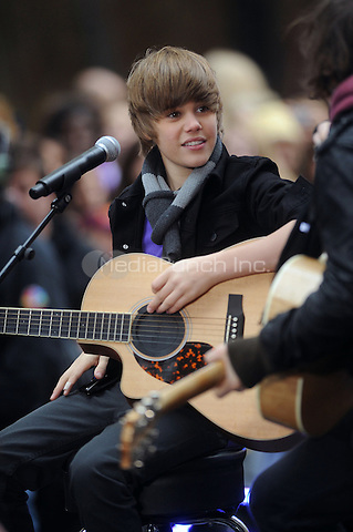 Justin Bieber performs on NBC's Today show at Rockefeller Center  in New York City. October 12, 2009.. Credit: Dennis Van Tine/MediaPunch
