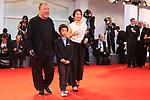 Arrivals on the Red Carpet for the screening of Human Flow during the 74th Venice Film Festival in Venice, on September 1, 2017.  Ai Weiwei, his wife Lu Qing and his son Lao Ai