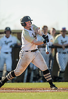 NWA Democrat-Gazette/BEN GOFF @NWABENGOFF<br /> Sam Golden, Bentonville catcher, connects for a sacrifice fly in the 1st inning vs Fayetteville Tuesday, April 9, 2019, at Bentonville's Tiger Athletic Complex.