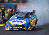 Aug 19, 2017; Brainerd, MN, USA; NHRA funny car driver Ron Capps during qualifying for the Lucas Oil Nationals at Brainerd International Raceway. Mandatory Credit: Mark J. Rebilas-USA TODAY Sports