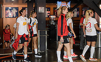 Houston, TX - Thursday Oct. 06, 2016: Samantha Mewis, Abby Erceg during media day prior to the National Women's Soccer League (NWSL) Championship match between the Washington Spirit and the Western New York Flash at BBVA Compass Stadium.