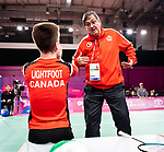Lima, Peru -  31/August/2019 -   Wyatt Lightfoot competes in the bronze medal match in badminton at the Parapan Am Games in Lima, Peru. Photo: Dave Holland/Canadian Paralympic Committee.