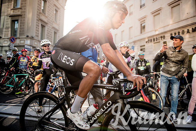 Egan Bernal (COL/Ineos) at the start of the race<br /> <br /> 113th Il Lombardia 2019 (1.UWT)<br /> 1 day race from Bergamo to Como (ITA/243km)<br /> <br /> ©kramon
