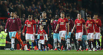 Wayne Rooney of Manchester United chats to the mascot as he leads the teams out during the English League Cup Quarter Final match at Old Trafford  Stadium, Manchester. Picture date: November 30th, 2016. Pic Simon Bellis/Sportimage
