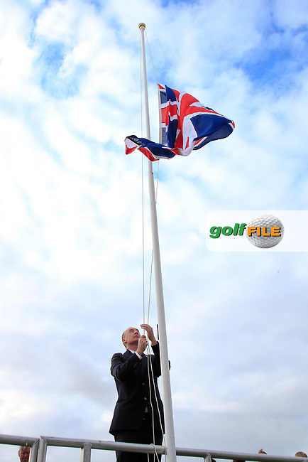 Craig Watson (GB&I Captain) raises the Great Britton flag during the opening ceremony at the Walker Cup, Royal Liverpool Golf CLub, Hoylake, Cheshire, England. 06/09/2019.<br /> Picture Fran Caffrey / Golffile.ie<br /> <br /> All photo usage must carry mandatory copyright credit (© Golffile | Fran Caffrey)