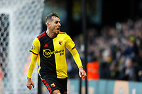 1st February 2020; Vicarage Road, Watford, Hertfordshire, England; English Premier League Football, Watford versus Everton; Roberto Pereyra of Watford celebrates after scoring his sides 2nd goal in the 42nd minute to make it 2-0