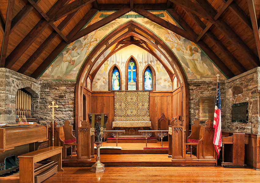 Interior of the All Souls Church, Tannersville, New York