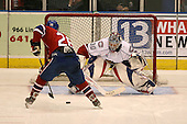 March 15, 2009:  Goalie Cedrick Desjardins (30) of the Hamilton Bulldgos, AHL affiliate of Montreal Canadians, makes a save on Michal Repik (26) during the overtime shoot out of a regular season game at the Blue Cross Arena in Rochester, NY.  Hamilton defeated Rochester 4-3 in a shoot out.  Photo Copyright Mike Janes Photography 2009