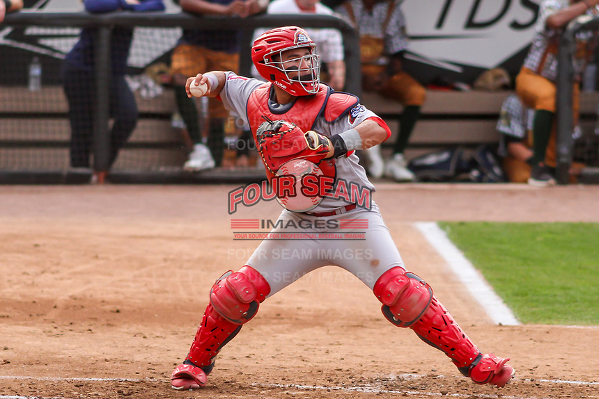 Peoria Chiefs catcher Ivan Herrera (4) throws down to second base between innings during a Midwest League game against the Wisconsin Timber Rattlers on May 31, 2019 at Fox Cities Stadium in Appleton, Wisconsin. Peoria defeated Wisconsin 3-0. (Brad Krause/Four Seam Images)