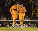 10/02/2010  Copyright  Pic : James Stewart.sct_jspa05_rangers_v_motherwell  .:: TOM HATELEY CELEBRATES WITH LUKAS JUTKIEWICZ AFTER HE SCORES MOTHERWELL'S FIRST::.James Stewart Photography 19 Carronlea Drive, Falkirk. FK2 8DN      Vat Reg No. 607 6932 25.Telephone      : +44 (0)1324 570291 .Mobile              : +44 (0)7721 416997.E-mail  :  jim@jspa.co.uk.If you require further information then contact Jim Stewart on any of the numbers above.........