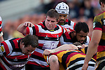 Jono Owen, Grant Henson & Simon Lemalu prepare to pack down at scrum time. ITM Cup rugby game between Waikato and Counties Manukau, played at Waikato Stadium, Hamilton on Saturday 28th August 2010..Waikato won 39 - 3.