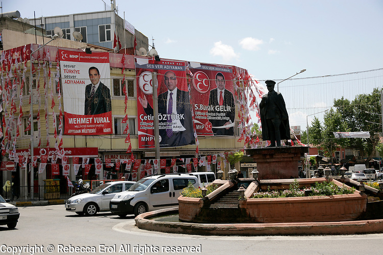 Adiyaman: election posters for the MHP party and a statue of Ataturk