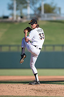 Salt River Rafters relief pitcher Tommy Eveld (33), of the Miami Marlins organization, delivers a pitch during an Arizona Fall League game against the Glendale Desert Dogs at Salt River Fields at Talking Stick on October 31, 2018 in Scottsdale, Arizona. Glendale defeated Salt River 12-6 in extra innings. (Zachary Lucy/Four Seam Images)