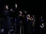 """Tony Vincent, Alyson Cambridge, Chloe Lowery, Matt Fields and Tony Bruno during the Broadway Opening Night Performance Curtain Call of  """"Rocktopia"""" at The Broadway Theatre on March 27, 2018 in New York City."""