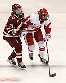 Bridget McCarthy (BC - 21), Maddie Elia (BU - 14) - The Boston College Eagles defeated the Boston University Terriers 3-2 in the first round of the Beanpot on Monday, January 31, 2017, at Matthews Arena in Boston, Massachusetts.