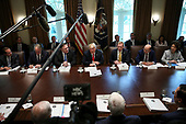 United States President Donald J. Trump, center, hosts a Cabinet Meeting in the Cabinet Room of the White House on August 16, 2018 in Washington, DC.<br /> Credit: Oliver Contreras / Pool via CNP