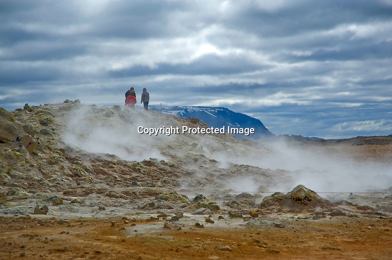 Steaming Boiling Hot Springs at Hverarond Geothermal Field in North Iceland