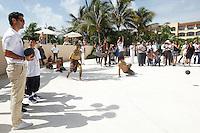 PLAYA DEL CARMEN, QUINTANA ROO, MEXICO., August 31st, 2012. - The footballer Rafael Marquez, who plays for New York Red Bulls Club, visited the Riviera Maya with the aim of promoting international campaign 'Passionate Traveler', same it performs through its Foundation 'Football and Heart' with help of Yucatan Holidays and Sunset World. Note that part of the campaign of each tour package sold will be donated to the Foundation and thus help tens of Mexican children. After the presentation, the former player of Barcelona gave an exhibition for attendees of the Pok Ta Pok or 'Ballgame', sport prehispanic Maya culture played since 1400 BC, at the Hotel Tres Rios in the Riviera Maya the August 31st, 2012 in Quintana Roo, Mexico. (Photo by Hugo Ortuño) /NortePhoto.com
