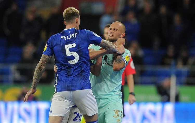 Tempers flare between Queens Park Rangers' Toni Leistner and Cardiff City's Aden Flint <br /> <br /> Photographer Ian Cook/CameraSport<br /> <br /> The EFL Sky Bet Championship - Cardiff City v Queens Park Rangers - Wednesday 2nd October 2019  - Cardiff City Stadium - Cardiff<br /> <br /> World Copyright © 2019 CameraSport. All rights reserved. 43 Linden Ave. Countesthorpe. Leicester. England. LE8 5PG - Tel: +44 (0) 116 277 4147 - admin@camerasport.com - www.camerasport.com